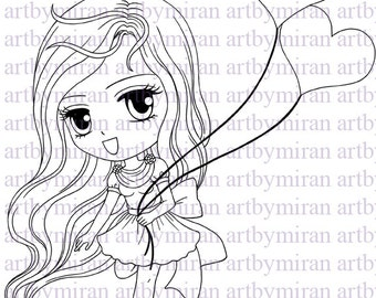 Digital Stamp-Fancy with Balloons, Digi Stamp, Coloring page, Printable Line art for Card and Craft Supply
