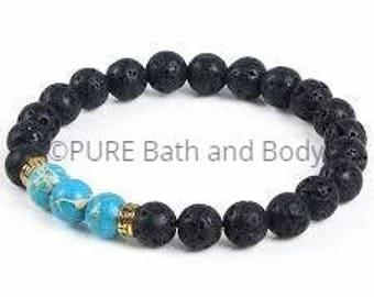 Turquoise, Lava Stone, Diffuser Bracelet, Energy Healing, Gemstone, Diffuser, Essential Oil Diffuser