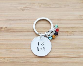 hand stamped rodan and fields keychain   I heart rodan + fields
