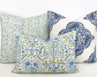 Busun Green and navy blue floral block print decorative throw pillow cover