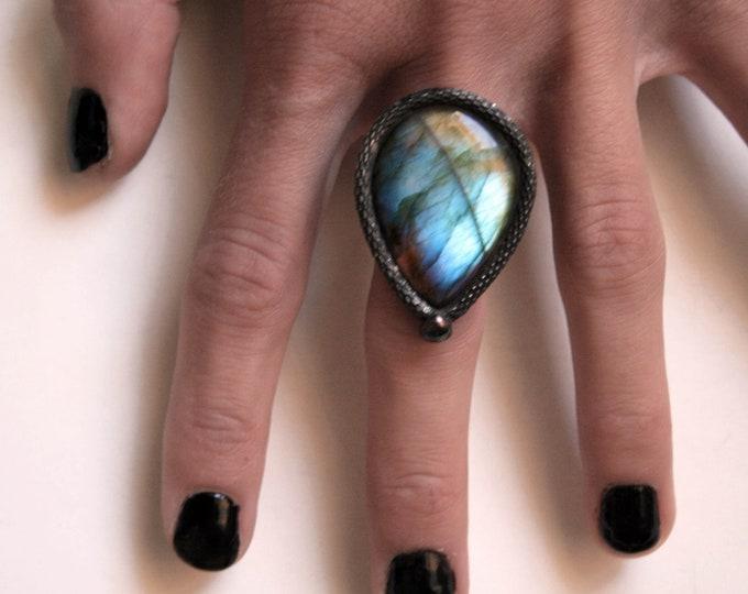Blue Labradorite Teardrop Ring // Labradorite Adjustable Ring