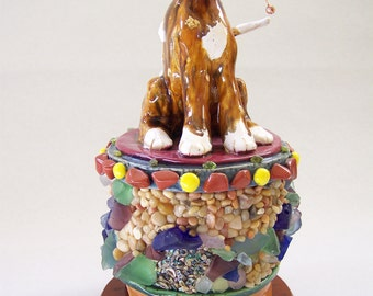 ON SALE - Kitty on Mosaic Box - Item 1054