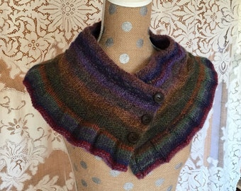 Cowl Shawl Collar Multi Colored Button Front Handknitted
