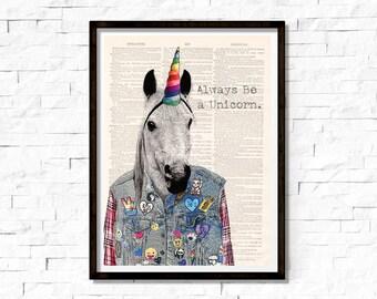 Always Be a Unicorn, Unicorn Wall Art, Nursery Printable, Unicorn Poster, Unicorn Print, Unicorn Quote