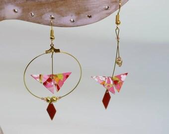 Origami earrings Creole asymmetrical pink butterflies