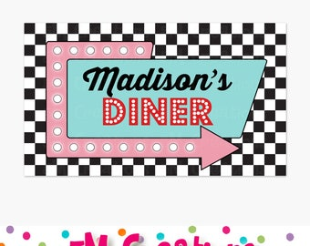 1950s Diner Party Sign - 50s Birthday Party Poster- Printable Sock Hop Party Backdrop Personalized Banner-Retro Diner Soda Shop Poodle Skirt