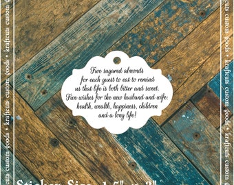 Favor Tags, Jordan Almond Favor Tags, Sugared Almond Favor Tags, Italian Wedding Favor Tags #803 - Qty: 30 Tags