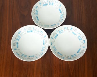 Set of 3 Blue Heaven Fruit Bowls
