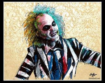 "Print 11x14"" - Its Showtime - Beetlejuice Horror Comedy Tim Burton Gothic Halloween Dark Art Funny Spooky Creepy Classic Portrait Pop"