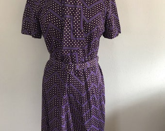 1970's polyester purple dress with neck tie and belt.
