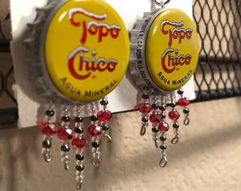 Topo Chico Bottle Cap Earrings w/ Beaded Strands