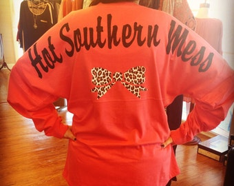 Hot Southern Mess Pom Pom Jersey with Leopard bow