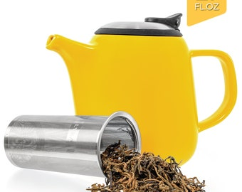 Tealyra - Daze Ceramic Teapot Yellow - 27oz - Stylish Teapot with Stainless Steel Lid Extra-Fine Infuser To Brew Loose Leaf Tea