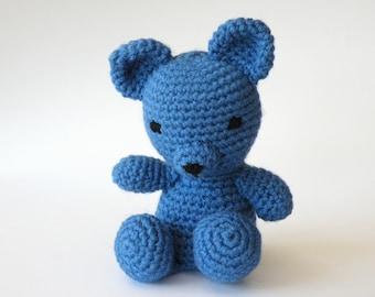 Handmade Crochet Teddy Bear Blue Amigurumi Personalised Soft Toy Gift *Made to Order*
