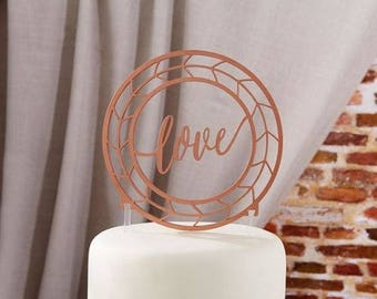 Love Cake Topper Geometric Copper Look Rustic Wedding Cake Topper Baking Supplies Jenuine Crafts