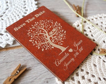 Wooden Save the Date Magnet Rustic Save the Date Tree of Life Rustic Wedding Invitation Unique Save the Date Cards Wood Magnets Custom Color