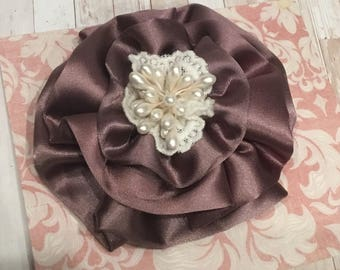"""Lavender satin and lace fabric flower. 4"""" Approx."""