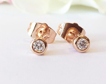 Diamond Earrings, Rose Gold Stud Earrings,Rose Gold Earring Studs,Diamond Stud Earrings,Everyday Earrings, Simple studs,Minimalist Earring