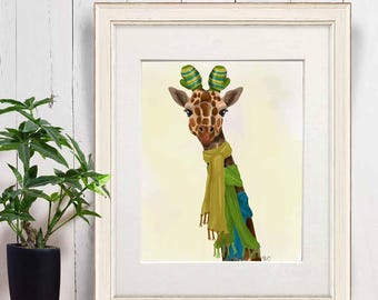 Giraffe wall art - Giraffe scarves - Giraffe print art Nursery wall giraffe Kids giraffe art Safari print Giraffe painting Giraffe decor