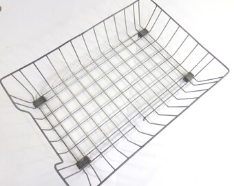 Vintage Wire File Basket In Out Tray Industrial Office Decor Desk Organization Metal Legal File Folder Basket Grey   Retro Office