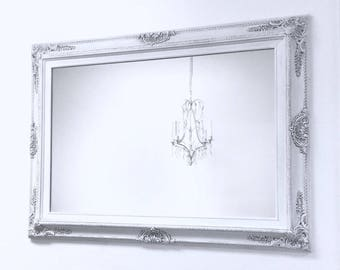 """DECORATIVE WALL MIRRORS Framed Baroque Vanity Mirror Wall Mirror 37""""x27"""" Decorative Gray White Shabby Chic Framed Mirror Rectangle"""