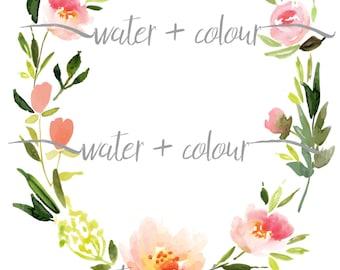 Downloadable watercolor floral wreath