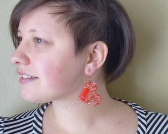 Red and gold Heart Circuit Board Earrings, Geek sweetheart love - by lumenjewelry.  Item 3204-20