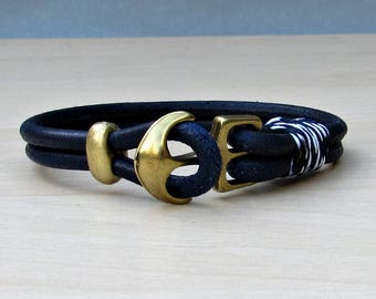 Blue Anchor Mens Bracelet Blue Mens Leather bracelet Cuff Nautical Rope Bracelet  Customized On Your Wrist