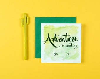 Adventure Is Waiting Quote card. Good luck, Travel. New job, new adventure, Wanderlust. Hand lettering. Sunshine for Breakfast.