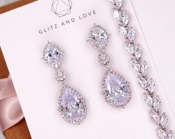 Silver White Wedding Bride Bridesmaid Gift Bridal Earrings Bracelet Jewelry Set Clear Cubic Zirconia Teardrop Earrings E316 B87