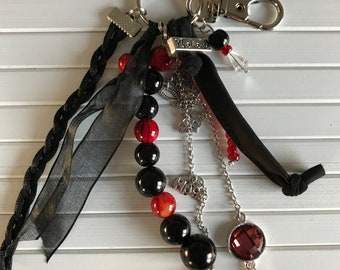 Tough red black keychain/bags pendant with beads, fabric and charms
