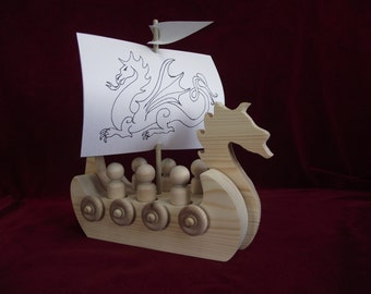 Viking Dragon Ship with Peg Dolls, Unfinished Wood