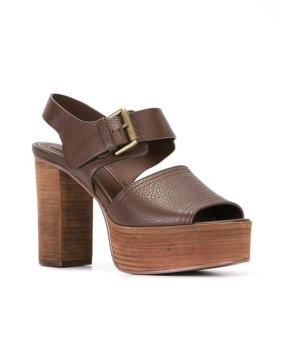 Brand new in box See by Chloe brown leather stacked platform sandals size 5.5 M