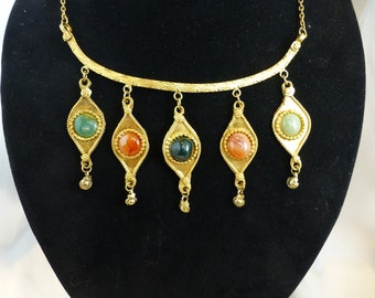Vintage Etruscan or Egyptian Revival Necklace with Semi-Precious Stones