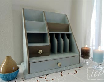 Gift idea: furniture drawer wooden ask restyled and weathered blue-grey