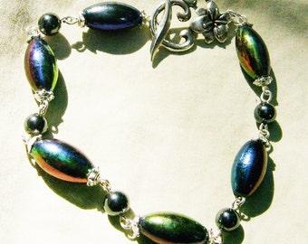 Wunderbare irisierende Armband - Reis-Glasperle & Hämatit Perlen in Silber durch JewelryArtistry - BR522