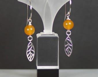 Boho Sterling Silver and Amber Dangle Earrings