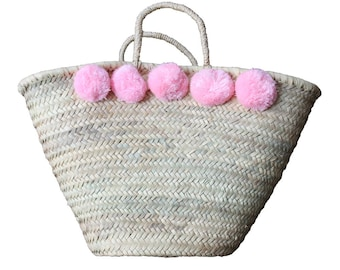 Basket Bag Pompoms Pink