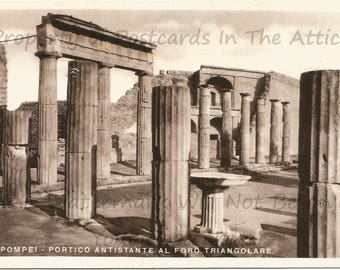 Pillars of Pompeii Historic Site Real Photograph Vintage Postcard in Italian