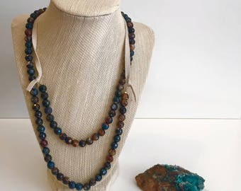 Long bohemian faceted blue brown green agate bead necklace with suede cord doubled layered
