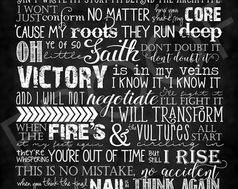 Chalkboard Typography - I Will Rise ~ Katy Perry