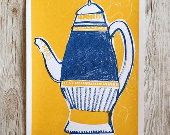 Hand pulled Two Colour Vase Illustration A3 Screen Print
