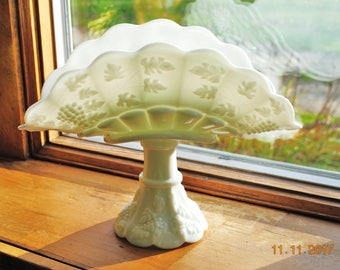 Westmoreland Milk Glass Banana Stand in Paneled Grape Milk Glass
