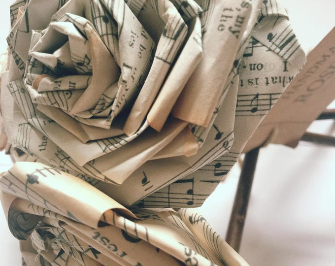 Featured listing image: Old Music Paper Rose Bouquet Gift For Her Him Music Lover Musician Vintage Home Christmas Wedding Anniversary Birthday (Bunch of 5-6)