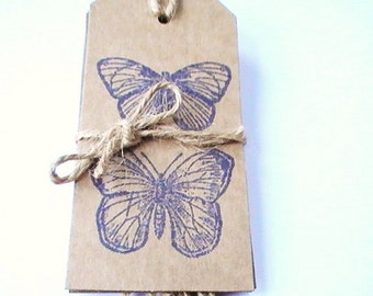 Butterfly Gift Tags, Rustic Tag Set, 5 Large Butterfly Tags, Natural Twine Ties, Insect Gift Tags, Hand Printed Kraft Tag Set, Gift Labels