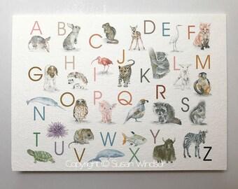 Animal Alphabet Greeting Card - Blank 5x7 - Teacher Appreciation Card