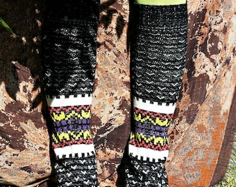Halloween Cabin in the Snowy Woods Upcycled Sweater Leg Warmers
