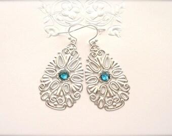 Lace Filigree Earrings, Turquoise Swarovski Crystal Dangle Earrings, Modern Earrings, Dangle Earrings, Filigree Drop Earrings, Gift for Her