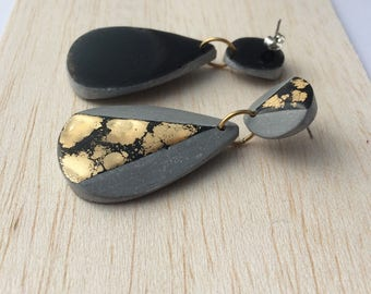 Concrete and gold resin statement earrings