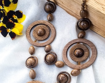 Large Wood Bead Necklace, Large Bib Necklace, Brown Jewelry, African Bib Necklace, Anniversary Gift